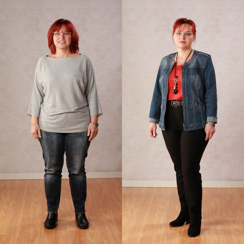 Pullover betont die breiteste Stelle am Körper, die Beine wirken verkürzt